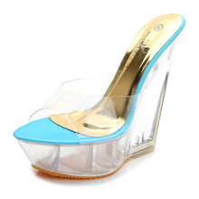 POADISFOO verano Sandalias de tacón alto de suela gruesa zapatillas de  cristal transparente plataforma impermeable 15 cm zapatos. e048af2b559c