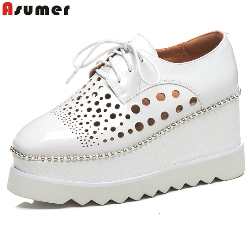 ASUMER 2019 Genuine Leather women pumps round toe cut outs platform shoes lace up wedge pumps high quality summer ladies shoes ASUMER 2019 Genuine Leather women pumps round toe cut outs platform shoes lace up wedge pumps high quality summer ladies shoes