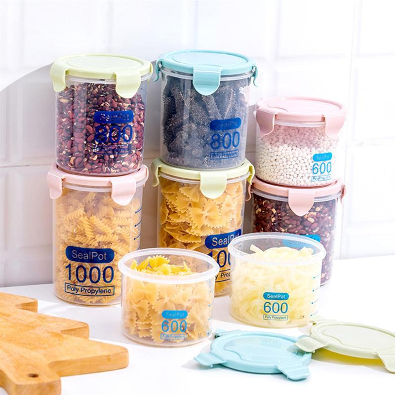 OUNONA Food Storage Box Airtight Leakproof Kitchen Storage Bottle Food Grain Container with Locking Lids for Snacks Rice Sugar in Bottles Jars Boxes from Home Garden
