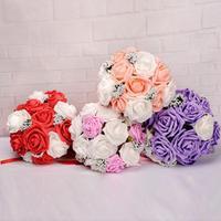 2017 Kristal Güller İnci Nedime Düğün Buket Gelin Yapay Ipek Çiçekler 612