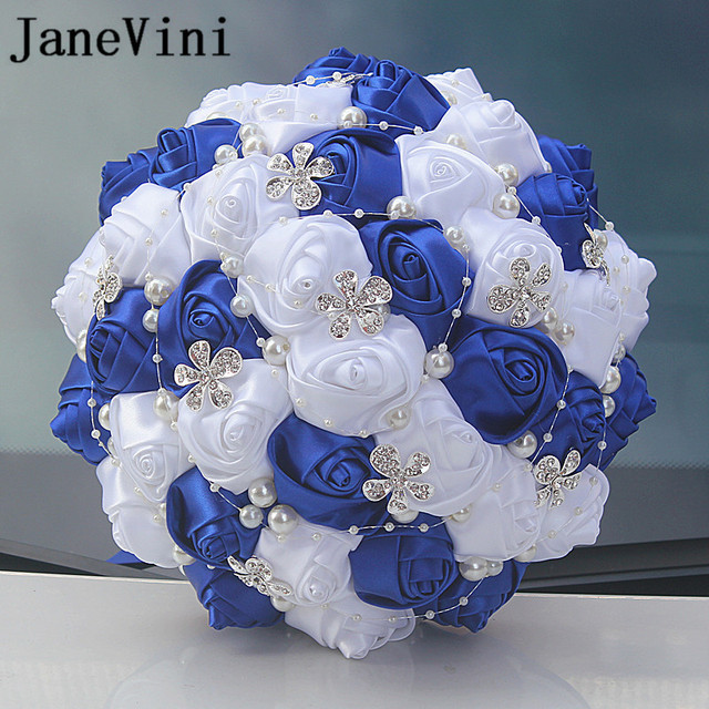 JaneVini Royal Blue and White Wedding Bouquet Diamond Fleur Satin     JaneVini Royal Blue and White Wedding Bouquet Diamond Fleur Satin Luxury  Beaded Bridal Flowers Ribbon Rose