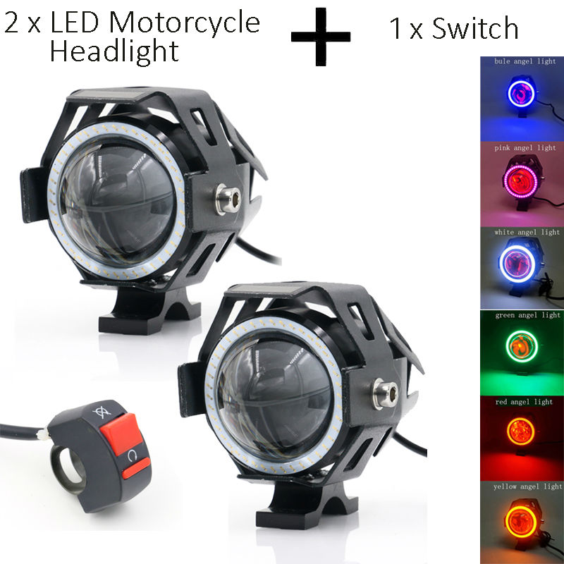 LED Fog Front Spot Light DRL Driving Running Motorcycle Lamp with Projector Lens Work Working Driving Headlight Angle Devil Eyes high quality 10w led spot work light 12v 24v car auto fog lamp motorcycle truck headlight