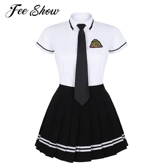 c681db644 Womens School Girl Uniform Suit Sets Cosplay Costume White Short Sleeves  T-shirt Pleated Skirt with Badge and Tie Cosplay Outfit