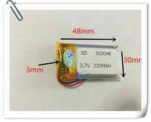 Wholesale 10 pcs 3.7V 330mAh 303048 Lithium Polymer Li-Po Rechargeable Battery For DIY Mp3 MP4 MP5 GPS PSP bluetooth