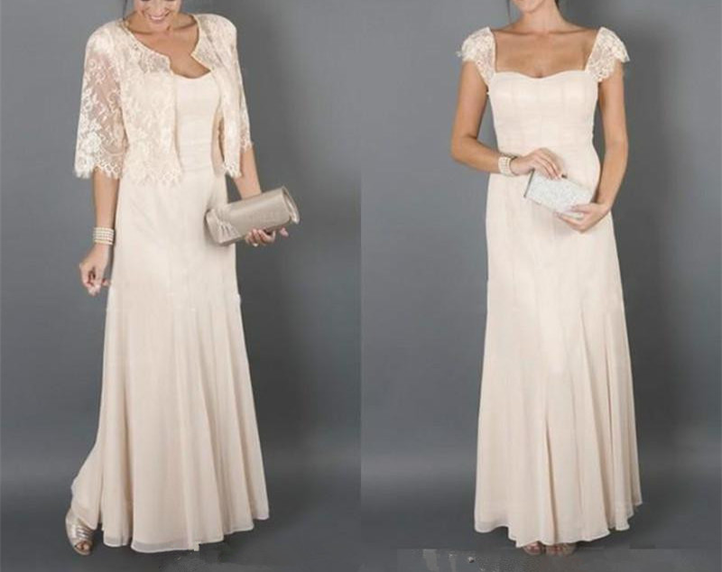 Élégant Champagne mère de la mariée robes avec veste formelle marraine femmes robe de soirée mariages vestido de madrinha