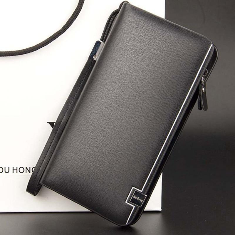 Baellerry Brand Business Wallet Long Section Coin Pocket Purse Zipper Multifunction Portfolio Men Casual Clutch Wallet Phone Bag
