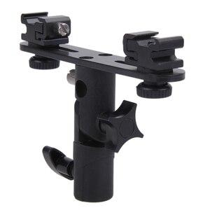 Image 3 - 카메라 플래시 브래킷 2 hotshoes 플래시 어댑터 우산 홀더 회전 마운트 라이트 스탠드 브라켓 스피드 라이트 삼각대