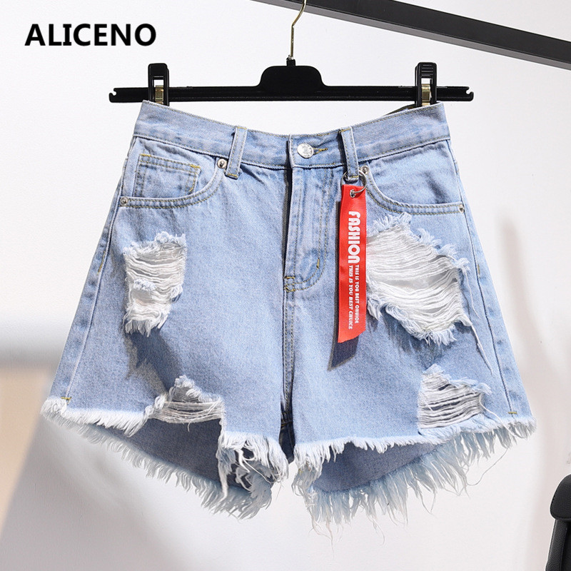 ALICENO NEW 2019 Plus Size Women Summer Loose Light Color White/blue/black   Shorts   Jeans with Hole Low Waist   Shorts