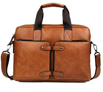 "men fashion Oil wax leather briefcase cowhide handbag Business men leather messenger cross bag genuine leather 14 ""laptop bag Men's Backpacks"