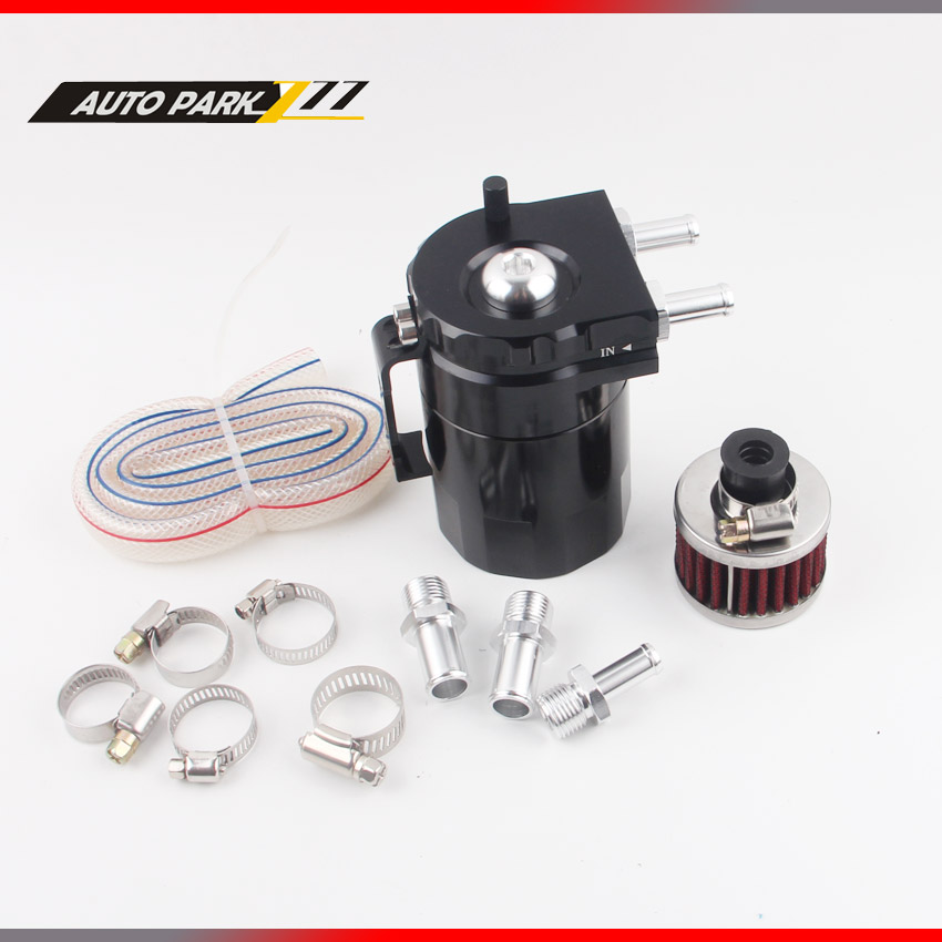 Baffled Aluminum Oil Catch Can Reservoir Tank / Oil Tank With Filter Universal