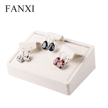 FANXI Free shipping custom wooden jewelry display wrapped with beige linen exhibitor organizer for earrings presentor