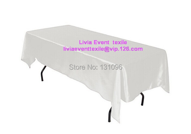 5pcs Quality White Rectangle145cmx304cm Satin Table Cloth,Table Cloths For Wedding Event &Party &Hotel &Resturant Decoration