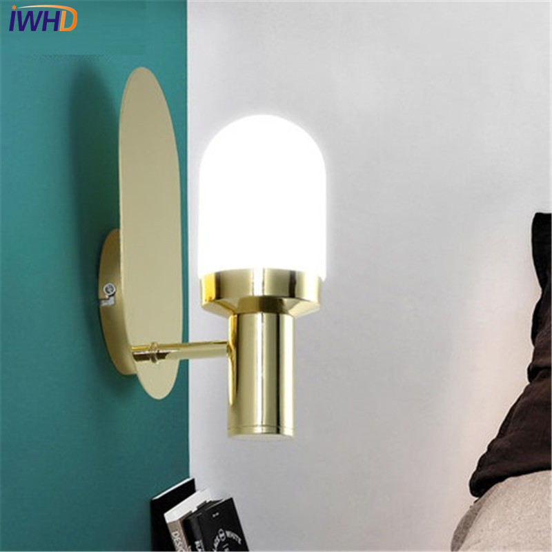 IWHD Nordic Simple Modern Wall Sconce Creative Glass LED Wall Light Fixtures For Bedside Wall Lamp Home Indoor Lighting iwhd simple fashion modern wall sconce iron wood led wall light fixtures for aisle home indoor lighting bedside wall lamp
