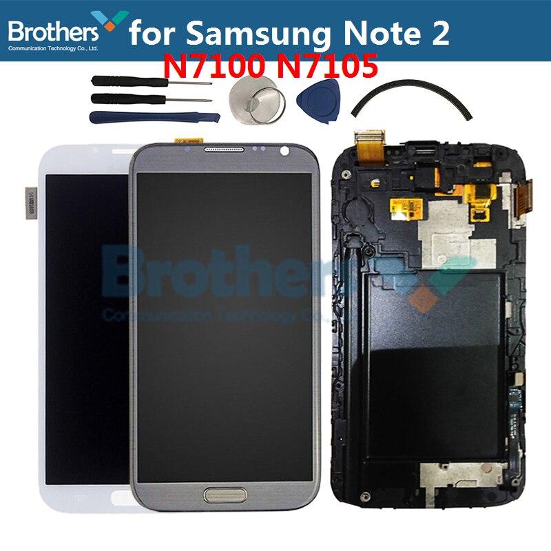 Pour Samsung GALAXY Note 2 N7100 N7105 écran LCD écran LCD pour Samsung N7105 LCD avec cadre accueil bouton écran tactile numériseur