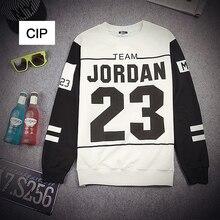 New Arrival Harajuku Patchwork Men winter Hoodies Letter Jordan 23 Printed Sweatshirts Black White 2 Colors