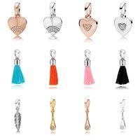 12 Style Sterling Silver Charm Beads Love Heart Tassel Pendant Crystal For Original Pandora Bracelet Bangle DIY Women Jewelry