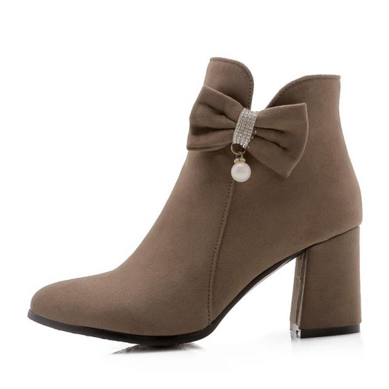 Lady Chaussures Bottes Chaude Haute 43 Épais Femmes Rizabina Talon Mode Zipper jaune Sexy Fourrure Cheville Bowknot gris Taille 32 rouge Noce Noir De zwnxx5