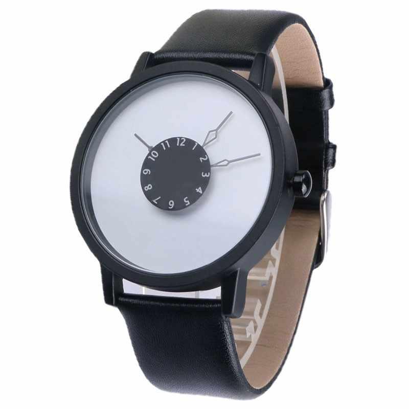 Mannen Dames Unisex Black Pu Lederen Quartz Uur Jurk Relogio Klokken Mode Merk Ontwerp Casual Sport Horloges Relogio Masculino
