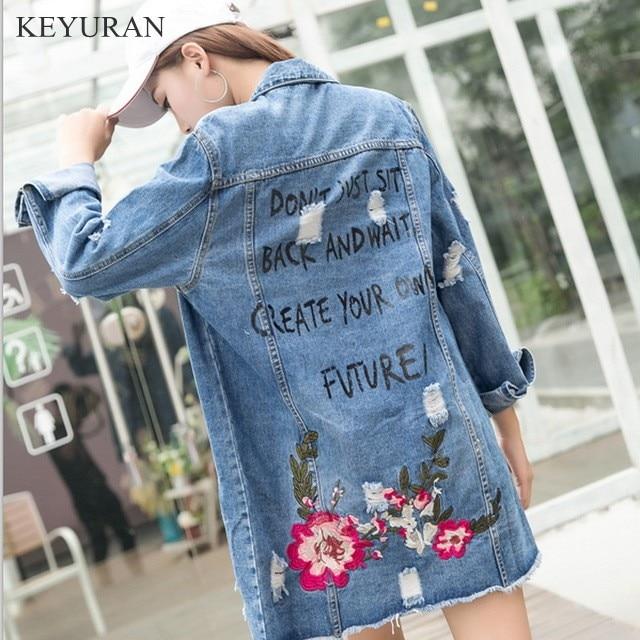 Chaqueta vaquera larga bordada Floral primavera otoño rasgado Jeans abrigo  para Mujer talla grande Mujer 2018 Tops Outewear Chaqueta Mujer en Chaquetas  ... bfd1f773e983