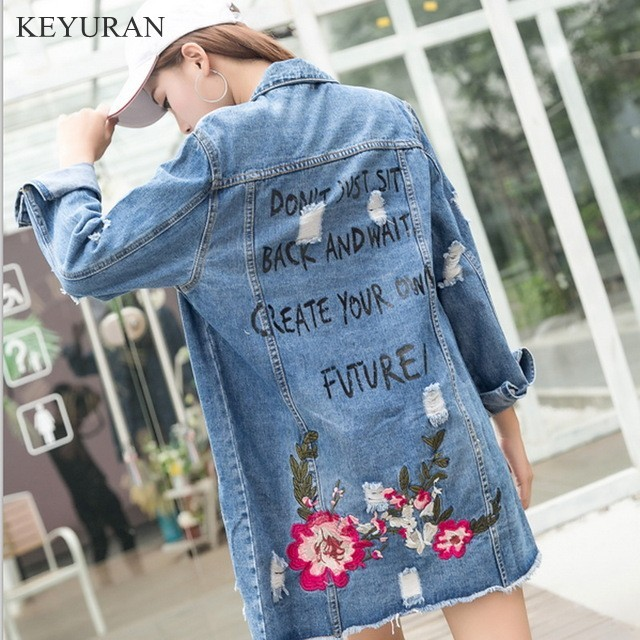 a7ecd44ff45 Floral Embroidery Long Denim Jacket Spring Autumn Ripped Jeans Coat For Women  Plus Size Femme 2018 Tops Outewear Chaqueta Mujer