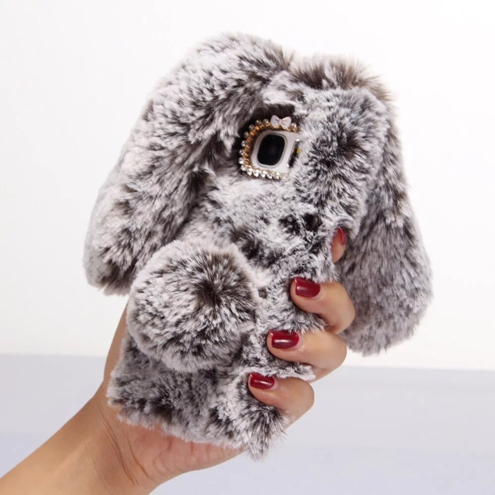 3D Rabbit Bunny Toy Case Artificial Cony Hair TPU Cover for Samsung Galaxy C5 C7 C9 C9pro Pro Note3 Note4 Note5 Note 3 4 5