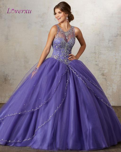 Loverxu Elegante Azul Royal Vestido 2017 Do Pescoço Da Colher de Cristal Frisado Vestido De Baile Quinceanera Debutante Vestido Plus Size vestido de 15 anos