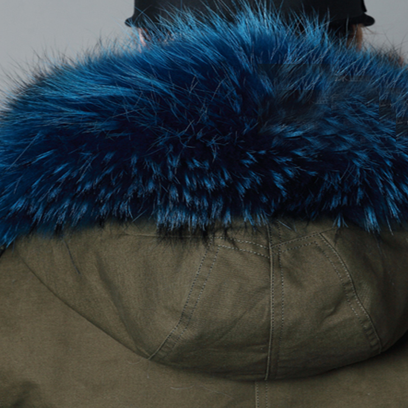 LVCHI 2019 nuovo inverno Femminile Parker Naturale Cappotti di pelliccia di Volpe SHUBA Casual Fox morbido rivestimento Militare di stile genuino Del Collare caldo cappuccio - 6
