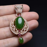 Fine Jewelry Real 925 Steling Silver s925 100% Natural Green Jasper Gemstones Leopard Female Pendant Necklaces Christmas Gift