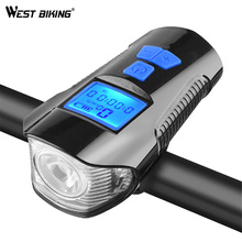 WEST BIKING Bike Front Light Waterproof USB Charging Headlight Flashlight Bicycle Computer Speedometer Horn Lamp Cycling