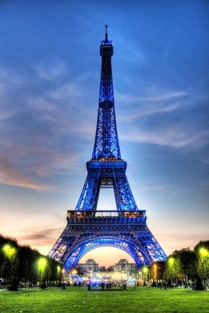 Bingkai Diy Paris Kota Menara Eiffel Urban Lanskap Pemandangan Kain Sutra Poster Cetak Gambar
