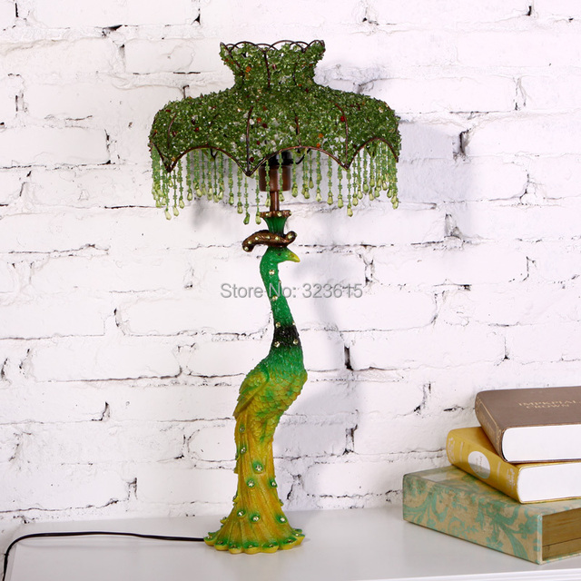 Verde hermoso pavo real lámpara de mesa moderna sencilla vidrio ...