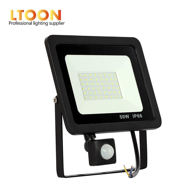 [LTOON] 10 W 20 W 30 W 50 W 100 W Conduziu a Luz de Inundação Com Sensor de PIR Ajustável SMD 2835 Holofotes Ao Ar Livre Iluminação De Rua Quadrado