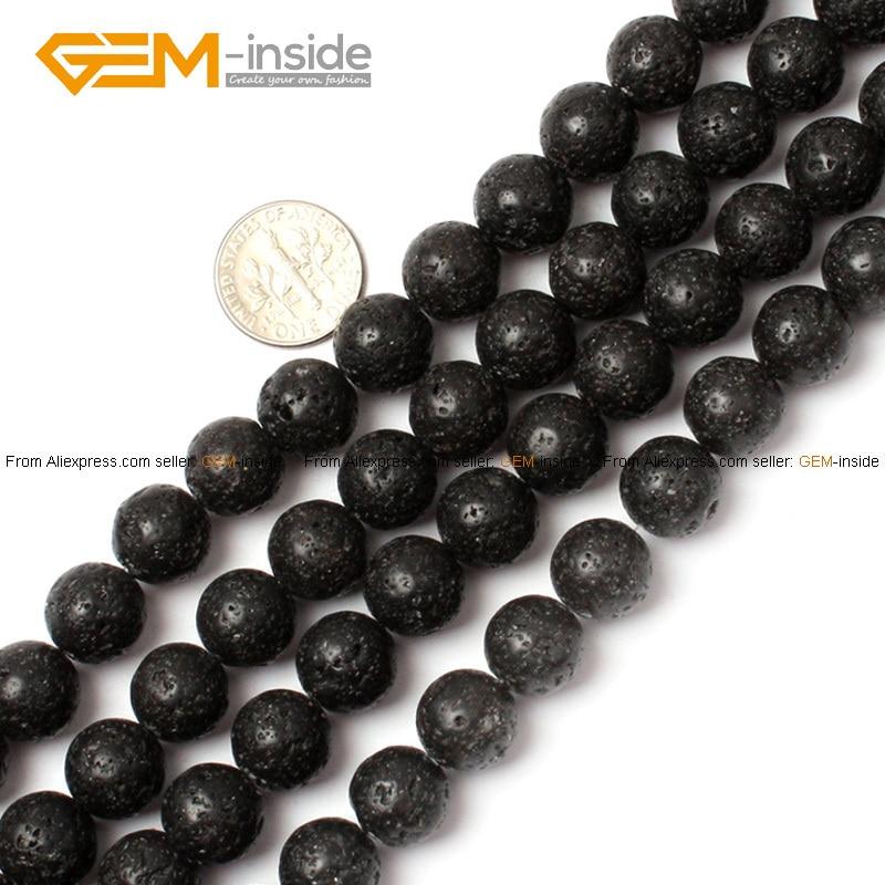Edelstein-innen 4-20mm Naturstein Perlen Runde schwarze Lava Rock - Modeschmuck - Foto 2