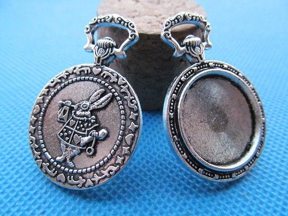 100pcs Antique Silver Antique Bronze Vintage Rabbit Pocket Watch Base Setting Pendant Charm 20mm Cabochon Cameo