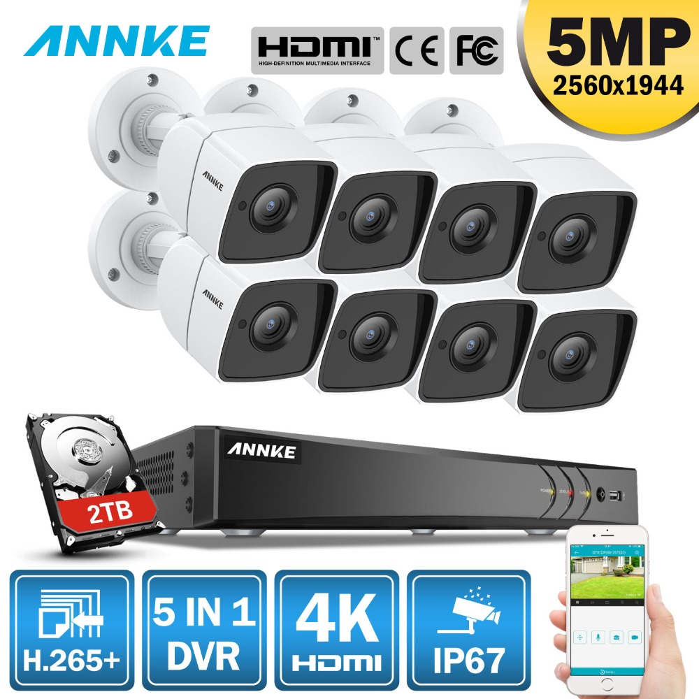 ANNKE 8CH 5MP Ultra HD CCTV Camera System 5IN1 H.265+ DVR With 8PCS 5MP TVI Weatherproof Security Surveillance System 1TB 2TB