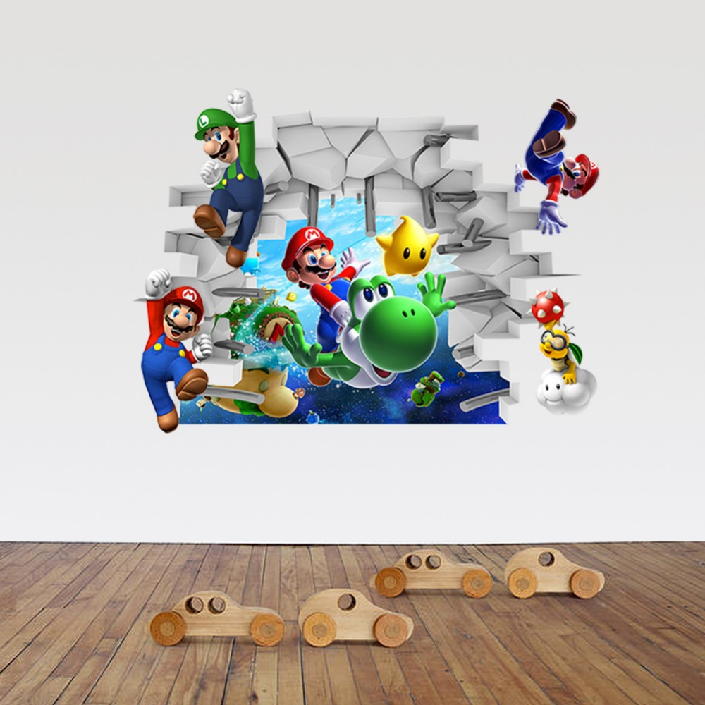 3d Cartoon Super Mario Bros Pvc Decals Adhesive Wall Stickers Mural Art Home Decor Children Boy Bedroom Nursery Birthday Gift