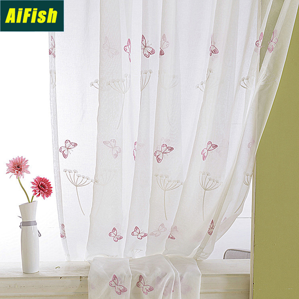 Embroidered Butterfly Dandelion Floral Tulle Curtains For Kitchen Bedroom Sheer Linen