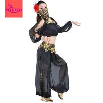 Ruoru 5 Pieces/lots Professional Belly Dance Costume Set with Belt Scarf Veil Head Flower Tops Pants Oriental Dance Costumes цена 2017