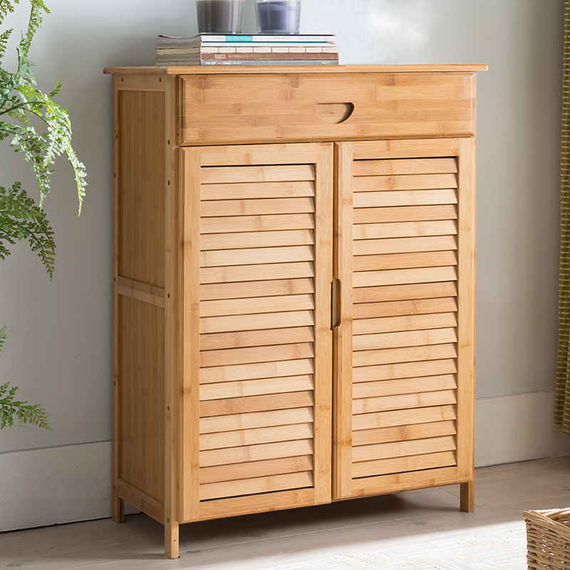 Contemporary Shoe Cabinet With 2 Doors &Drawers Bamboo