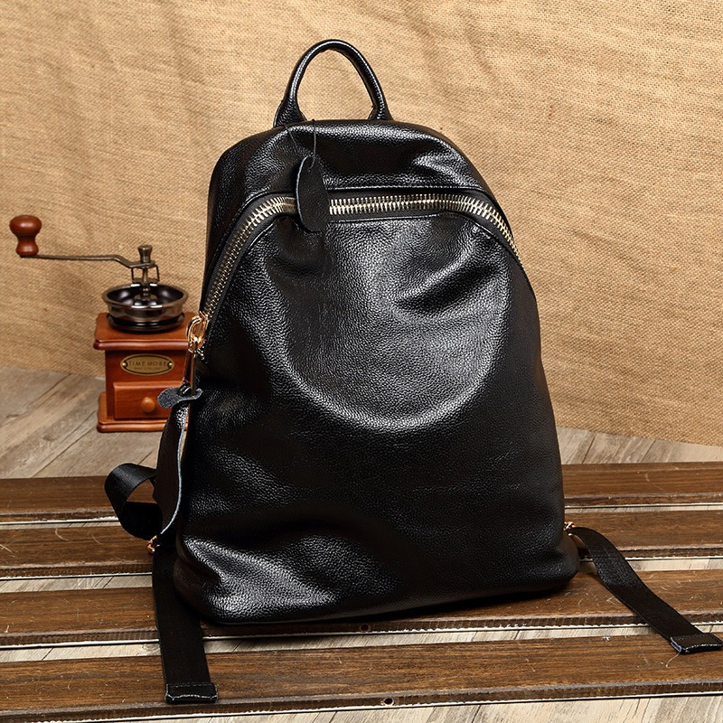High Quality Women Backpack Fashion Genuine Leather Black Shoulder Back Bag Preppy Style Backpacks for Teenage Girls 2 Versions small waterproof nylon women backpack fashion black shoulder back bag preppy style backpacks for teenage girls 24 13 30 cm s1392