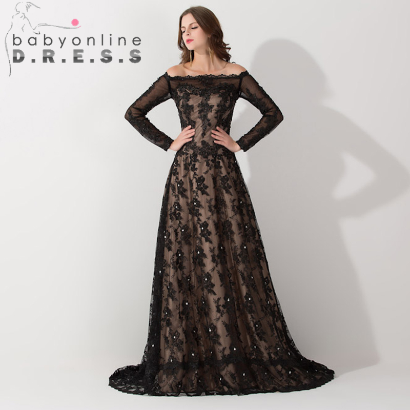 Middle East Black Lace Muslim Arabic   Evening     Dress   Long Sleeve Boat Neck Kaftan Dubai   Evening   Gown with Train Robe de Soiree