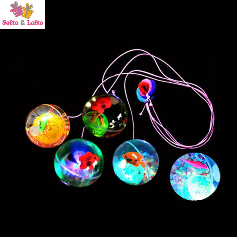 Luminous Bouncing Ball With Elastic String Light Clear Transparent Crystal Playball Children Pet Toy Doggy Kids Girls Boys Gift