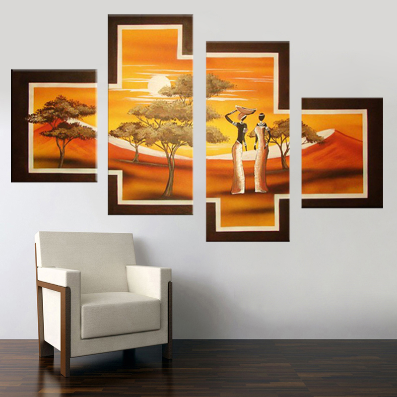 100 hand painted paintings African People Tribal Life Landscape oil paintingOn Canvas Modern 4 Pcs Group Wall Art Home Decor