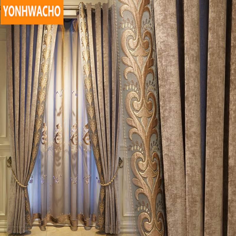 Custom curtains luxury Simple modern chenille living room  embroidered coffee cloth blackout curtain tulle drape B043Custom curtains luxury Simple modern chenille living room  embroidered coffee cloth blackout curtain tulle drape B043