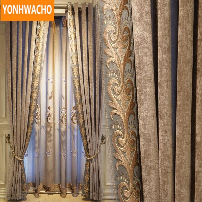 Cortinas de Luxo Sala de Estar Pano de Café Personalizado Simples Moderno Chenille Bordado Blackout Cortina Tulle Cortina B043