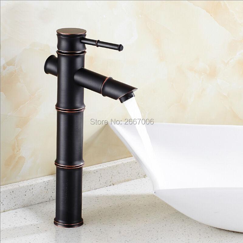 GIZERO Vintage Style bambou forme robinet noir grand bassin de comptoir robinets laiton finition lavabo cascade robinets GI620GIZERO Vintage Style bambou forme robinet noir grand bassin de comptoir robinets laiton finition lavabo cascade robinets GI620