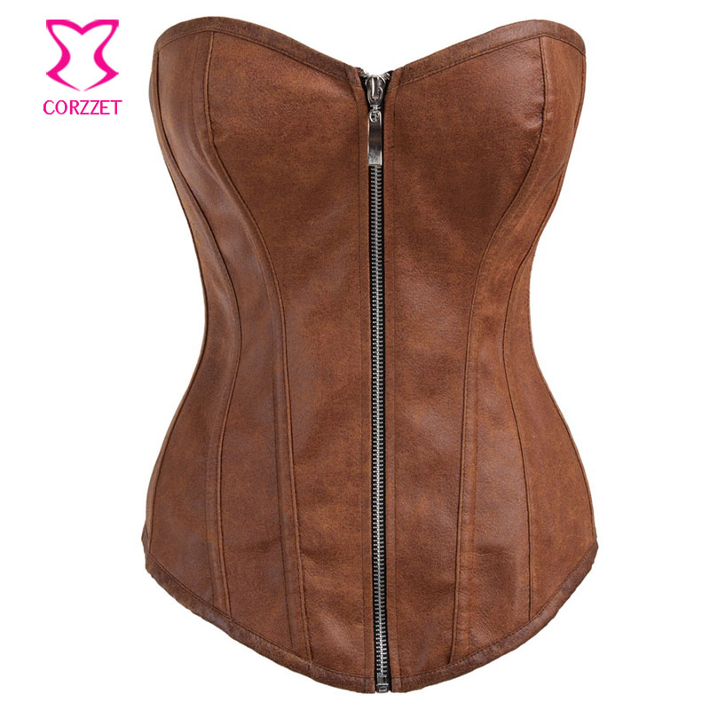 Brown Suede Faux Leather   Bustier   Sexy   Corset   Overbust Zipper Burlesque   Corsets   and   Bustiers   Steampunk Korsett For Women Corpetes