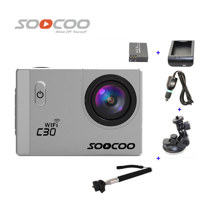 Free Shipping!!SOOCOO C30 WiFi 2K Full HD Sports Action Camera +Extra 1pcs battery+Battery Charger+Monopod+Car Charger+Holder free shipping 2017 newest mini wifi sports camera r360 220degree eyefish lens