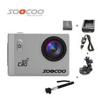 Free Shipping!!SOOCOO C30 WiFi 2K Full HD Sports Action Camera +Extra 1pcs battery+Battery Charger+Monopod+Car Charger+Holder