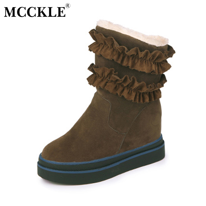 MCCKLE Ladies Winter Warm Plush Ankle Snow Boots 2017 Women Fashion Lotus Leaf Side Fur Slip On Platform Solid Style Shoes mcckle female winter warm plush ankle snow boots 2017 women fashion lotus leaf side fur slip on platform solid style shoes